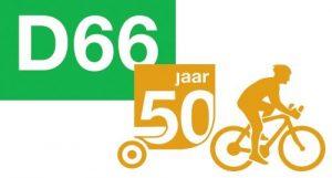 Fiets-estafette ter gelegenheid van 50 jarig jubileum van D66